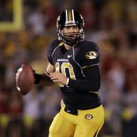 Photo - University of Missouri quarterback Chase Daniel looks to pass during the first quarter of a college football game against Nebraska Saturday, Oct. 6, 2007, in Columbia, Mo. (AP Photo/Jeff Roberson) ORG XMIT: MOJR107