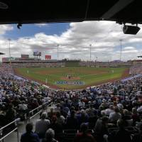 Photo - The Arizona Diamondbacks and the Chicago Cubs compete during the third inning of a spring training baseball game on Thursday, Feb. 27, 2014, in Mesa, Ariz. (AP Photo/Matt York)