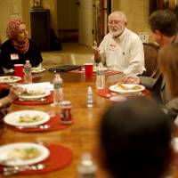 Photo - Jim Huff talks during a recent Amazing Faiths interfaith dinner in the Edmond area. Photo by Bryan Terry, The Oklahoman  BRYAN TERRY - THE OKLAHOMAN
