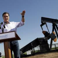 Photo -   Republican presidential candidate, former Massachusetts Gov. Mitt Romney speaks at a campaign stop held at KP Kauffman Co., an oil and gas production and drilling company in Fort Lupton, Colo.,Wednesday, May 9, 2012. (AP Photo/Jae C. Hong)
