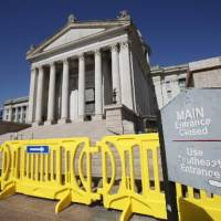Photo - The south steps of the state Capitol are closed due to falling debris in Oklahoma City , Thursday, October 20, 2011. Photo by Steve Gooch