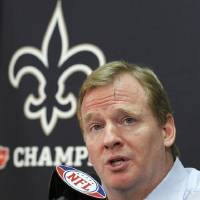 Photo -   FILE - This Aug. 2, 2010 file photo shows NFL commissioner Roger Goodell speaking during a news conference at the New Orleans Saints' football training facility in Metairie, La. The appeals hearing for four players suspended by NFL Commissioner Roger Goodell for their role in the Saints bounty program has begun. On hand at NFL headquarters Monday, June 18, 2012, are all four players: Saints linebacker Jonathan Vilma, who is suspended for the 2012 season, and defensive end Will Smith, who has been docked for four games; Green Bay defensive end Anthony Hargrove, suspended for eight games; and Cleveland linebacker Scott Fujita (three games). (AP Photo/Gerald Herbert, File)
