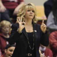 Photo - Oklahoma head coach Sherri Coale instructs her team during the first half of a second-round game in the women's NCAA college basketball tournament Monday, March 25, 2013, in Columbus, Ohio. Oklahoma beat UCLA 85-72. (AP Photo/Jay LaPrete) ORG XMIT: OHJL112