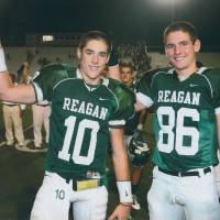 Photo - Twins Trevor Knight, left, and Connor Knight during their high school football days at San Antonio Reagan High School. PHOTO PROVIDED