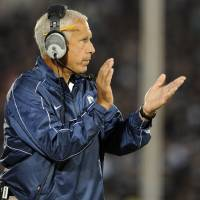 Photo -   Connecticut head coach Paul Pasqualoni reacts during an NCAA college football game against Massachusetts in East Hartford, Conn., Thursday, Aug. 30, 2012. (AP Photo/Jessica Hill)