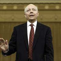 Photo - Internal Revenue Service Commissioner John Koskinen is sworn in on Capitol Hill in Washington, Friday, June 20, 2014, prior to testifying before the House Ways and Means Committee hearing on whether tea party groups were improperly targeted for increased scrutiny by the IRS. The IRS asserts it can't produce emails from seven officials connected to the tea party investigation because of computer crashes, including the emails from Lois Lerner, the former IRS official at the center of the investigation who has invoked her Fifth Amendment right at least nine times to avoid answering lawmakers' questions.   (AP Photo/J. Scott Applewhite)