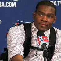 Photo - INTERVIEW: Oklahoma City's Kevin Durant is interviewed after game 1 of the Western Conference Finals in the NBA basketball playoffs between the Dallas Mavericks and the Oklahoma City Thunder at American Airlines Center in Dallas, Tuesday, May 17, 2011. Frame grab by Damon Fontenot ORG XMIT: KOD