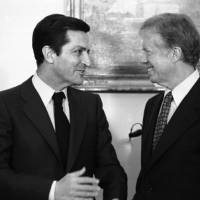 Photo - FILE- This is a Jan. 14, 1980 file photo of Spain's Prime Minister Adolfo Suarez , left, as he meets with U.S. President Jimmy Carter at the White House in Washington. Suarez  Spain's first democratically-elected prime minister after decades of right-wing rule under Gen. Francisco Franco, died Sunday March 23, 2014. Suarez was 81-years-old.  (AP Photo/Dennis Cook)