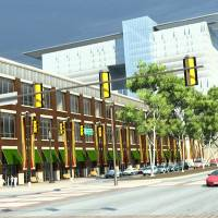 """Photo - Looking west from S Walker, this conceptual view of a boulevard in place of the existing I-40 shows mixed use development and office towers north of a new """"central park"""" concept. Drawing Provided by the Greater Oklahoma City Chamber of Commerce"""