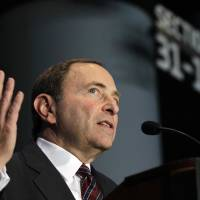 Photo -   National Hockey League Commissioner Gary Bettman speaks during a press conference, Wednesday, Oct. 24, 2012 in New York, announcing that the Islanders hockey club will move from Nassau Veterans Memorial Coliseum in Uniondale, N.Y., and play at Brooklyn's Barclays Center starting in 2015. (AP Photo/Kathy Willens)