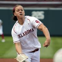 Photo - Sooner pitcher Keilani Ricketts throws during the Norman Regional of the 2013 NCAA Division I Softball Women's College World Series as the University of Oklahoma (OU) Sooners play the Arkansas Razorbacks at Marita Hines Field on Saturday, May 18, 2013  in Norman, Okla. Photo by Steve Sisney, The Oklahoman