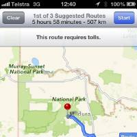 Photo - This screen shot taken Tuesday, Dec. 11, 2012, of an iPhone's Apple mapping application shows the service placing the city of Mildura  70 kilometers (44 miles) away in the Murray Sunset National Park, a desert-like 5,000 square kilometer (1,900 square mile) region with scorching temperatures and virtually no mobile phone reception. Australian police are warning the public that errors in Apple's much-maligned mapping application are leading drivers headed to the southern city to take a potentially