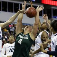 Photo - Michigan State center Jasmine Hines (4) battles for a rebound against Penn State forward Tori Waldner (44), forward Mia Nickson, third from right, and guard Dara Taylor (2), second from right, during the first half of an NCAA college basketball game in the Big Ten Conference tournament in Hoffman Estates, Ill., Saturday, March 9, 2013. (AP Photo/Nam Y. Huh)