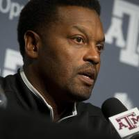 Photo - Texas A&M  coach Kevin Sumlin speaks during an NCAA college football press conference in College Station, Texas, Monday, Aug. 5, 2013.  (AP Photo/Bryan College Station Eagle Photo, Stuart Villanueva)