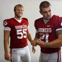 Photo - **FOOTBALL TAB DO NOT USE***        COLLEGE FOOTBALL: The University of Oklahoma's Jaydan Bird, left, and Tom Wort pose for a photo during OU's football media day in Norman, Okla., Saturday August 6, 2011. Photo by Bryan Terry, The Oklahoman ORG XMIT: KOD
