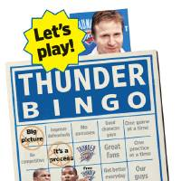 Photo - Let's play! THUNDER BINGO - GRAPHIC WITH PHOTOS: 1) NBA BASKETBALL: Oklahoma City Thunder head coach Scott Brooks appears at the team's final media session before breaking for the offseason, in Oklahoma City, Thursday, April 16, 2009. The interim tag was taken off head coach Scott Brooks' title on Wednesday. (AP Photo/Sue Ogrocki) 2) OKLAHOMA CITY THUNDER / MIAMI HEAT / NBA BASKETBALL / REACTION / REACT: Oklahoma City's Russell Westbrook reacts after a slam dunk during the Thunder - Miami game January 18, 2009 in Oklahoma City.    BY HUGH SCOTT, THE OKLAHOMAN 3) OKLAHOMA CITY THUNDER / SAN ANTONIO SPURS / NBA BASKETBALL  Oklahoma City's Kevin Durant during the Thunder - Spurs game March 16, 2009 in the Ford Center in Oklahoma City.    BY HUGH SCOTT, THE OKLAHOMAN 		ILLUSTRATION BY TODD PENDLETON, THE OKLAHOMAN
