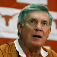 Photo - University of Texas college football head coach Mack Brown speaks during a media availability Monday, Aug. 25, 2008, in Austin, Texas. The Texas defensive secondary, one of the worst in the nation last season, will start two freshmen at safety.  Freshmen Earl Thomas and Blake Gideon are listed as the top safeties for Saturday's season opener against Florida Atlantic.   (AP Photo/Harry Cabluck) ORG XMIT: AT102