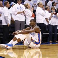 Photo -  Kevin Durant explained to Darnell Mayberry why he couldn't watch Russell Westbrook's late-game free throws in Game 5 Tuesday. Photo by Sarah Phipps, The Oklahoman