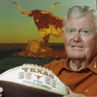 Photo -   FILE - This Sept. 18, 2007 file photo shows former Texas head football coach Darrell Royal posed at his apartment complex in Austin, Texas. The University of Texas says Royal, who won two national championships and a share of a third, has died. He was 88. UT spokesman Nick Voinis on Wednesday, Nov. 7, 2012 confirmed Royal's death in Austin. (AP Photo/Harry Cabluck)
