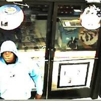 Photo - On 7/4/12 at approximately 1:55 a.m., police responded to an armed robbery at the Circle K store at 4501 NW 39th.  The suspect walked up to the counter after picking up a 32 ounce drink, produced a pistol and demanded cash.  After taking money from the till, the suspect walked away from the store.  There was no vehicle involved and nobody was injured.  Surveillance cameras captured images of the suspect (see attached photos).  The suspect was described as a black male wearing a blue Thunder hooded sweatshirt.  Anyone with information should contact Crime Stoppers at 405/235-7300.  Callers to Crime Stoppers can remain anonymous and may be eligible for a cash reward.