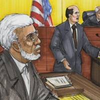 Photo - FILE - In this June 7, 2011 file courtroom sketch, Chicago businessman Tahawwur Rana, left, appears in federal court in Chicago. Rana is scheduled to be sentenced Thursday, Jan 17, 2013, in Chicago for backing terrorism in Denmark and supporting a Pakistani terrorist group that staged deadly attacks on Mumbai, India, in 2008. (AP Photo/Tom Gianni, File)
