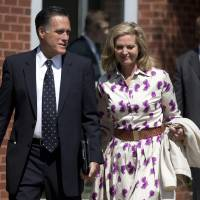 Photo -   Republican presidential candidate, former Massachusetts Gov. Mitt Romney and his wife Ann, leave the Church of Jesus Christ of Latter-day Saints after services on Sunday, Sept. 2, 2012 in Wofeboro, N.H. (AP Photo/Evan Vucci)