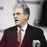 Photo - U.S. Sen. Tom Coburn announces he will run for a second term at the Tulsa Press Club this morning. Photo by Tom Gilbert, Tulsa World