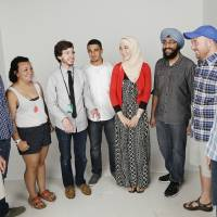 Photo - From left: Matt Patrick, Evan Traylor, Sammi Donchin, Andrew Stogkill, Yazan Salus, LayanSalous, Simar Singh, Trey Witzel, and Samer Abdelkander are part of a group discussion on inter faith youth at OPUBCO studio, Tuesday, August 13, 2013. Photo by Doug Hoke, The Oklahoman