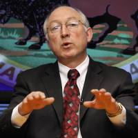 Photo - FILE - In this March 9 2009 file photo, Interior Secretary Ken Salazar gestures during an interview with The Associated Press in Washington. Salazar will leave the Obama administration in March, an Obama administration official said Wednesday.  (AP Photo/J. David Ake)