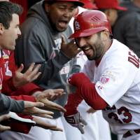 Photo -   St. Louis Cardinals' Daniel Descalso is congratulated by teammates in the dugout after hitting a solo home run during the fourth inning in Game 2 of baseball's National League division series against the Washington Nationals, Monday, Oct. 8, 2012, in St. Louis. (AP Photo/Tom Gannam)