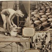Photo - Photos of water buckets and circus workers using them are included in the exhibit