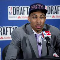 Photo - Georgetown's Otto Porter, Jr., selected by by the Washington Wizards in the first round of the NBA basketball draft, speaks during a news conference Thursday, June 27, 2013, in New York. (AP Photo/Craig Ruttle)