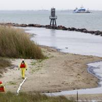 Photo -      Crews work Monday to clean oil from the shore area along Boddeker Road on the Eastern end of Galveston, Texas. Thousands of gallons of tar-like oil spilled into the major U.S. shipping channel after a barge ran into a ship Saturday. AP Photo by Cody Duty, Houston Chronicle   Cody Duty -