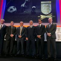 Photo - The current and some former England soccer team managers pose for photographs at the launch of the English Football Association's150th anniversary year in central London, they are from the left- Roy Hodgson, the current manager, Graham Taylor, Terry Venables, David Bernstein Chairman of the FA, Fabio Capello and Sven-Goran Eriksson, Wednesday, Jan. 16, 2013. The English FA was founded in London in October 1863, it was instrumental in forming the modern day game of soccer.(AP Photo/Alastair Grant)