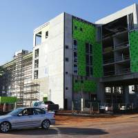 Photo - The new Aloft Hotel is under construction at the corner of NE 2 and Walnut, overlooking Bricktown.