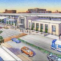 Photo -  RENDERING: The Oklahoma City Urban Renewal Authority is preparing to seek eminent domain condemnation on the Santa Fe train depot to acquire it for use as a transit hub as part of MAPS 3. The master plan for the project is shown in this drawing. DRAWING PROVIDED BY THE CITY OF OKLAHOMA CITY       ORG XMIT: 1303052209325185