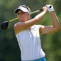 Photo - Anna Nordqvist, of Norway, tees off on the seventh hole in the third round of the Airbus LPGA Classic golf tournament at Magnolia Grove on Saturday, May 24, 2014, in Mobile, Ala. (AP Photo/G.M. Andrews)