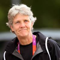 Photo -   FILE - This Aug. 2, 2012 file photo shows U.S. women's soccer head coach Pia Sundhage arriving at a soccer practice for the 2012 London Summer Olympics at Cochrane Park in Newcastle, England. After leading the team to two Olympic gold medals and its first spot in a World Cup final in more than a decade, Sundhage is stepping down. Saturday's announcement of Sundhage's departure came just a few hours before the Americans kicked off their