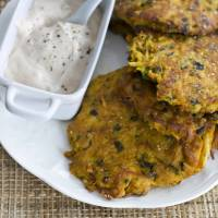 Photo -   In this image taken on November 5, 2012, Southwestern latkes with chipotle yogurt are shown on a plate in Concord, N.H. (AP Photo/Matthew Mead)