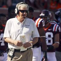 Photo - In this photo taken Sept. 7, 2013, Virginia Tech head foach Frank Beamer watches his team during an NCAA college football game against Western Carolina in Blacksburg Va. (AP Photo/The Roanoke Times, Matt Gentry) LOCAL TV OUT; SALEM TIMES REGISTER OUT; FINCASTLE HERALD OUT;  CHRISTIANBURG NEWS MESSENGER OUT; RADFORD NEWS JOURNAL OUT; ROANOKE STAR SENTINEL OUT MBI