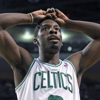 Photo - Boston Celtics forward Jeff Green reacts to a call during the second half against the New York Knicks in Game 2 of a first-round NBA basketball playoff series in Boston on Tuesday, April 19, 2011. (AP Photo/Elise Amendola) ORG XMIT: NYOTK