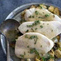 Photo - Chef Rocco DiSpirito's recipe for Thanksgiving dinner. This recipe takes roughly an hour and a half to make, far less than typical turkey dinners.  Matthew Mead - AP