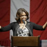 Photo - First lady Michelle Obama declares the