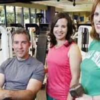 Photo - From left, Bob Doucette, Jenni Carlson and Julie Bisbee in the OPUBCO fitness center. All three have gotten in great shape in recent years.  David McDaniel - The Oklahoman