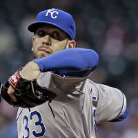 Photo - Kansas City Royals' James Shields delivers a pitch against the Houston Astros in the first inning of a baseball game on Thursday, April 17, 2014, in Houston. (AP Photo/Pat Sullivan)