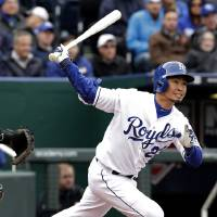 Photo - Kansas City Royals' Norichika Aoki watches his double during the fourth inning of a baseball game against the Chicago White Sox on Friday, April 4, 2014, in Kansas City, Mo. (AP Photo/Charlie Riedel)