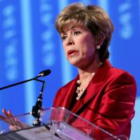 Photo - Former state schools Superintendent Sandy Garrett gives the 2008 State of Education Address at the Cox Convention Center. Oklahoman Archives Photo