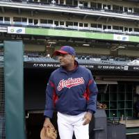 Photo -   Cleveland Indians interim manager Sandy Alomar, Jr. walks onto the field during before a baseball game against the Kansas City Royals Friday, Sept. 28, 2012, in Cleveland. Alomar takes over for Manny Acta who was fired Thursday. (AP Photo/Mark Duncan)