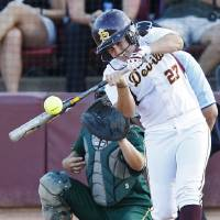 Photo - Arizona State's Kaylyn Castillo hits a solo home run against North Dakota State in the first inning of the first game at the NCAA regional softball tournament at Farrington Softball Stadium in Tempe , Ariz. on Friday, May 20, 2011. ASU won 10-0.  (AP Photo/The Arizona Republic, Rob Schumacher) MARICOPA COUNTY OUT; MAGS OUT; NO SALES ORG XMIT: AZPHP201