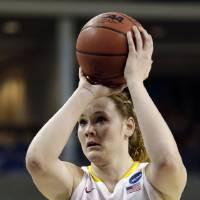 Photo - Iowa State's Chelsea Poppens shoots a free throw against Gonzaga in the first half during a first-round game in the women's NCAA college basketball tournament in Spokane, Wash., Saturday, March 23, 2013. (AP Photo/Elaine Thompson)